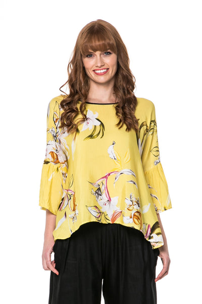 Juna Lemon Ruffle Sleeve Top