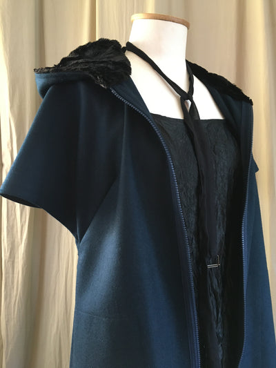 Vesta Fan Coat - Jade Wool with Fur Hood