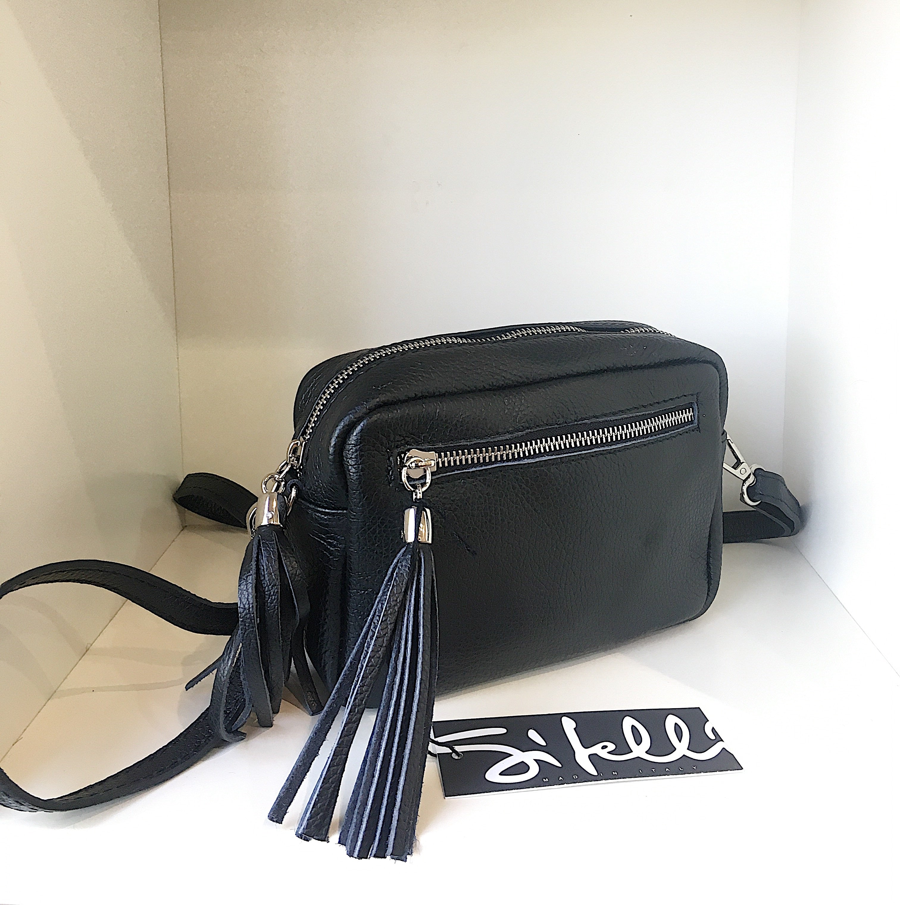 Sitelli Tassle Italian Leather Bag - Black