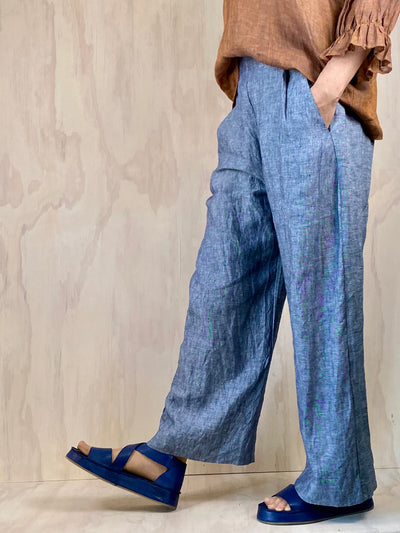 Juna Origami Trousers - Chambray Linen