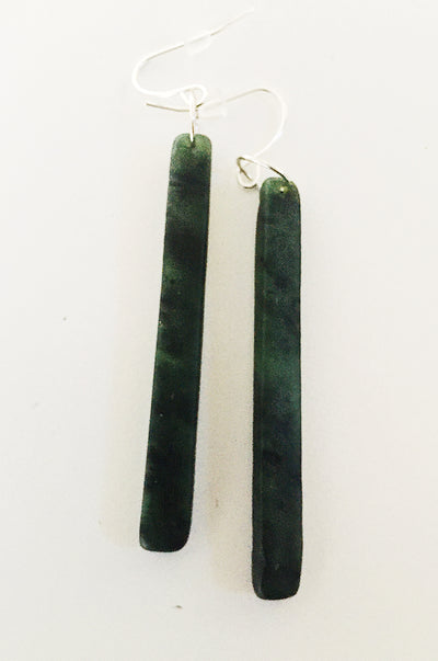 Pounamu (Greenstone) Earrings - long dark drops square finish