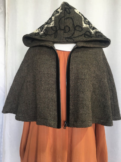 Vesta Hooded Mini Cape - Tweed