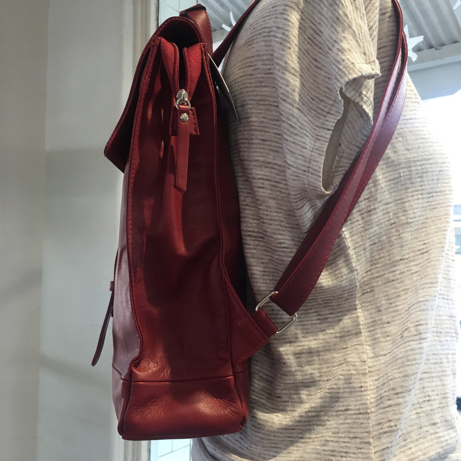 Sitelli Italian Leather Back Pack - Red