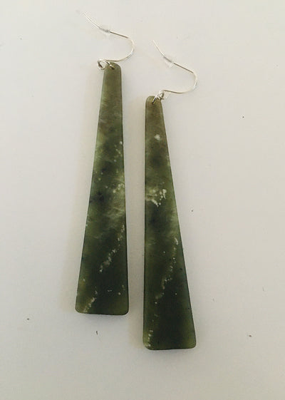 Pounamu (green stone) Earrings - Extra Long