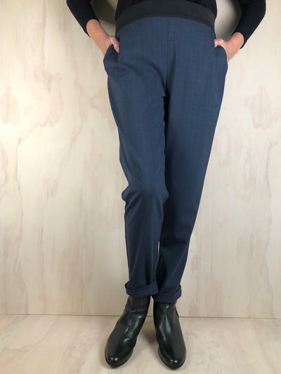 Juna Tinker Trousers - Smoke/Blue pinstripe Wool