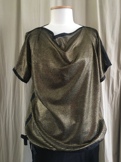 Vesta Mesh Tie Top - Gold and Black