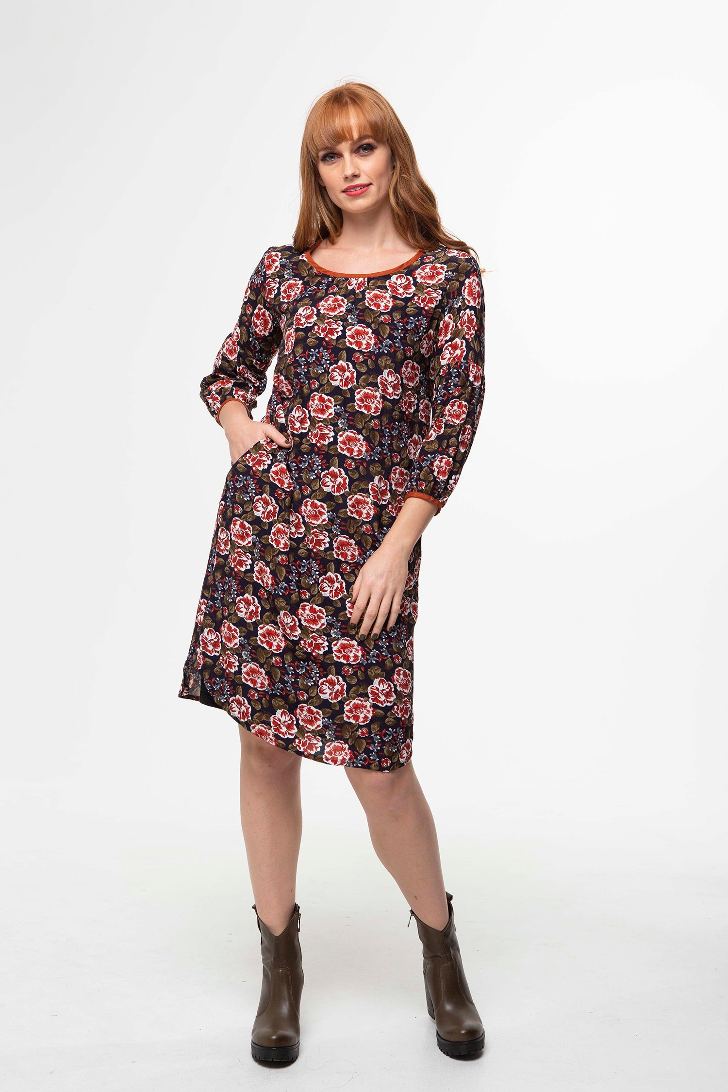 Juna Bounce Dress - Brick Rose