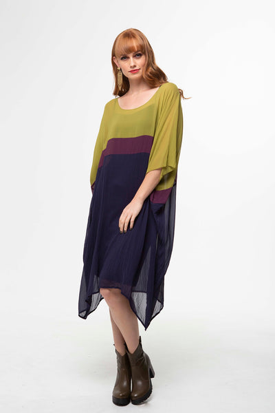 Juna Silk T Dress - Moss