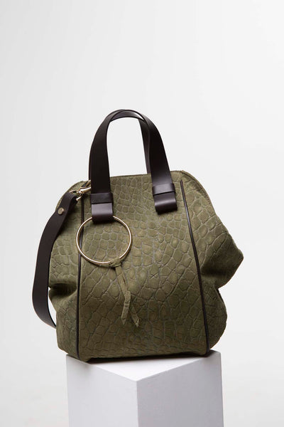 Chocolate + Sage  Suede Bag