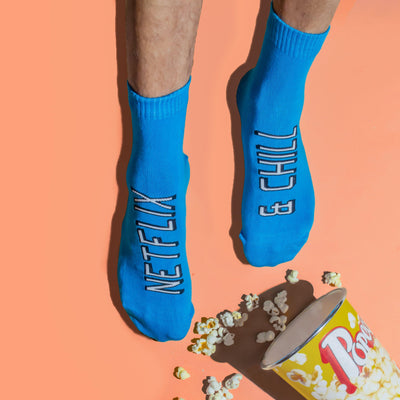 Netflix & Chill Blue Socks