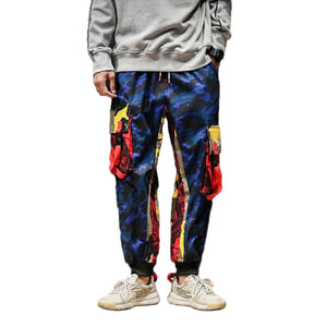 Camo color block pants