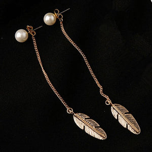 Leaf Feather Earrings