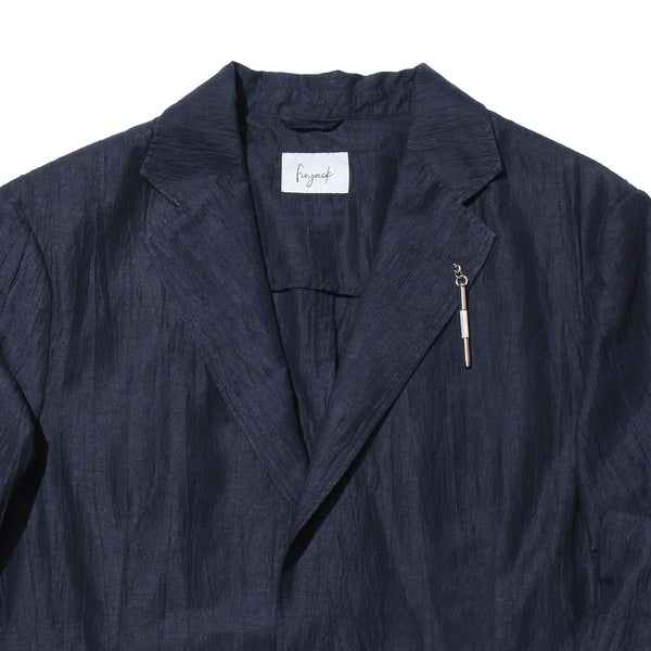 Cotton Linen Tailored Jacket<br>Color:Navy