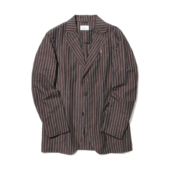 Cotton Linen Tailored Jacket<br>Color:Brown Stripes