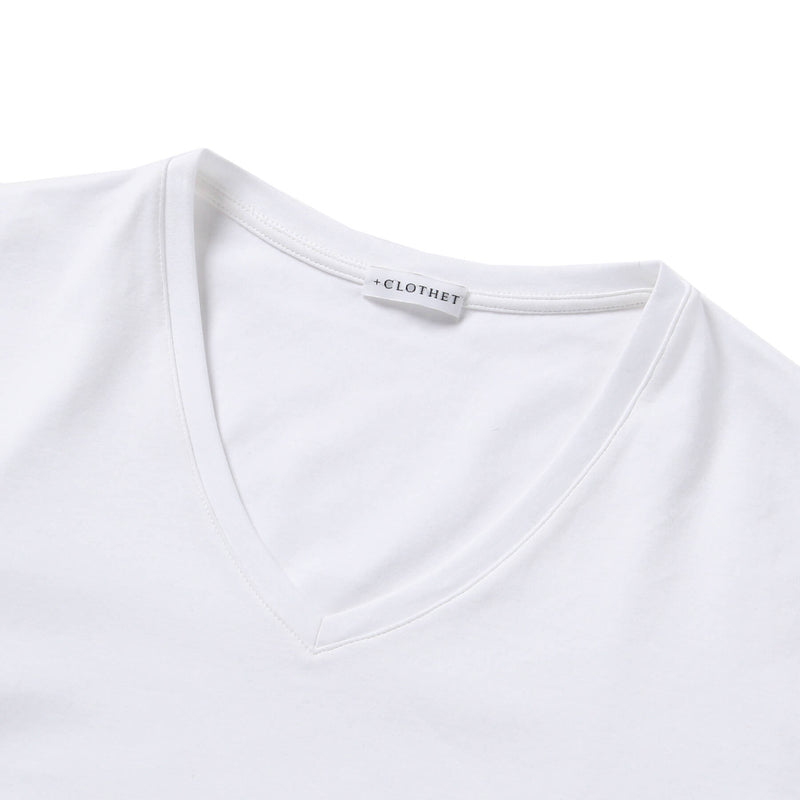 【MMW限定 干場企画】<br>Suvin Platinum V-Neck T-Shirt<br>Color: White