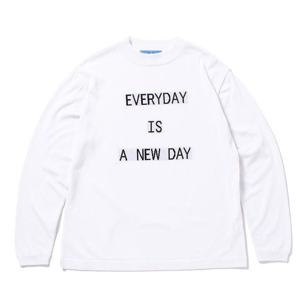 """EVERYDAY"" Lettered Mock Neck Long Sleeve T-Shirt White"