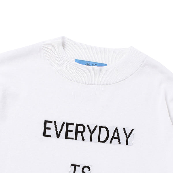 "PRE ORDER<br>""EVERYDAY"" Lettered Mock Neck Long Sleeve T-Shirt White"