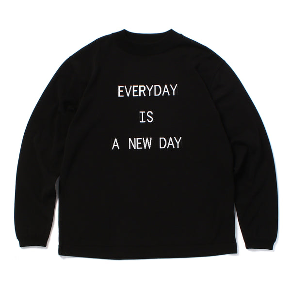 "PRE ORDER<br>""EVERYDAY"" Lettered Mock Neck Long Sleeve T-Shirt Black"