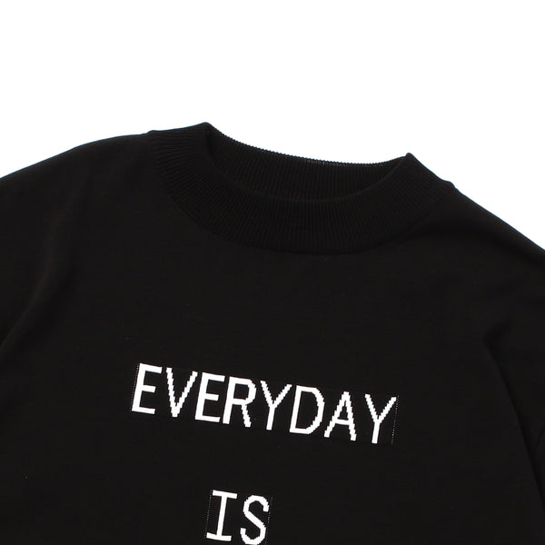 """EVERYDAY"" Lettered Mock Neck Long Sleeve T-Shirt Black"