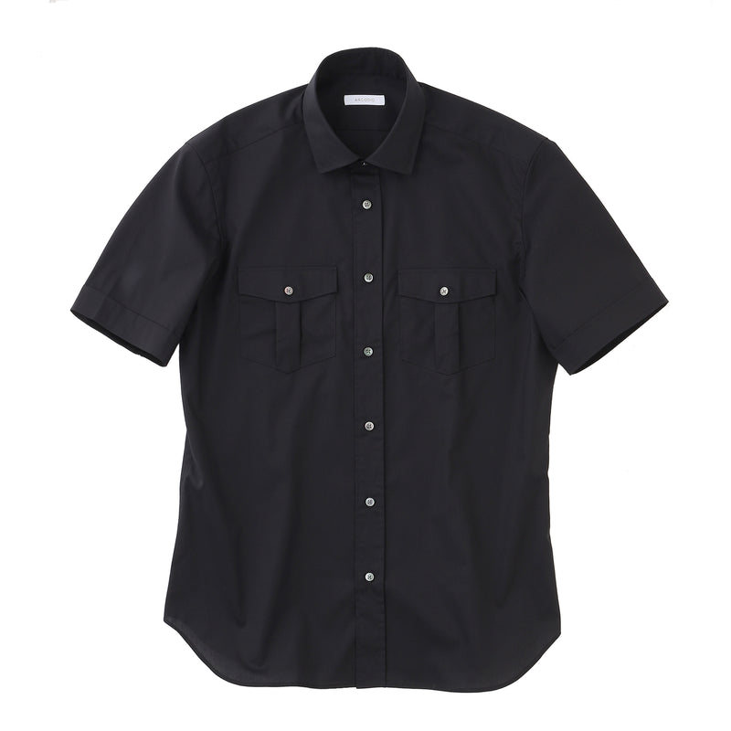 MMW限定<br>Pilot Shirts 3Functions Broadcloth Short Sleeve<br>Black