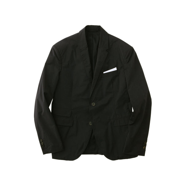【干場愛用セットアップジャケット】<br>Matte Nylon Stretch<br>Notchied Lapel Jacket<br>Black
