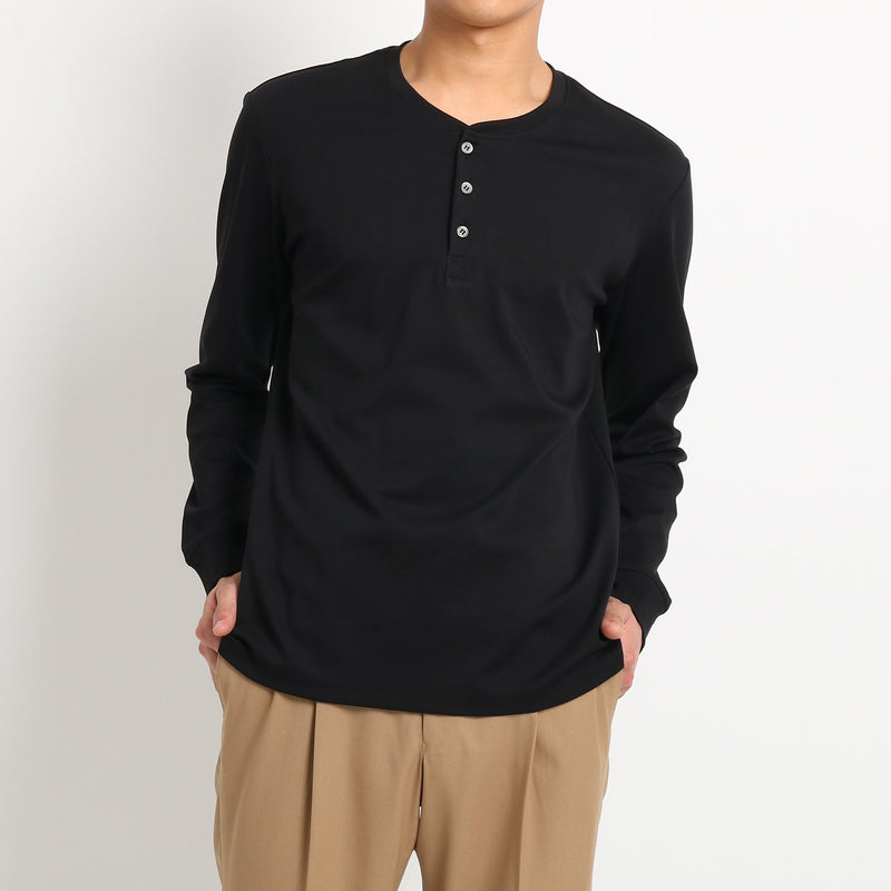 Suvin Platinum Henley Neck Long Sleeve T-Shirt<br>Color: Black