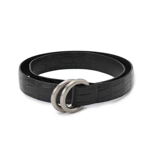 【受注終了しました】PRE ORDER<br>Crocodile Double Ring Belt SUPREME 30mm<br>Black