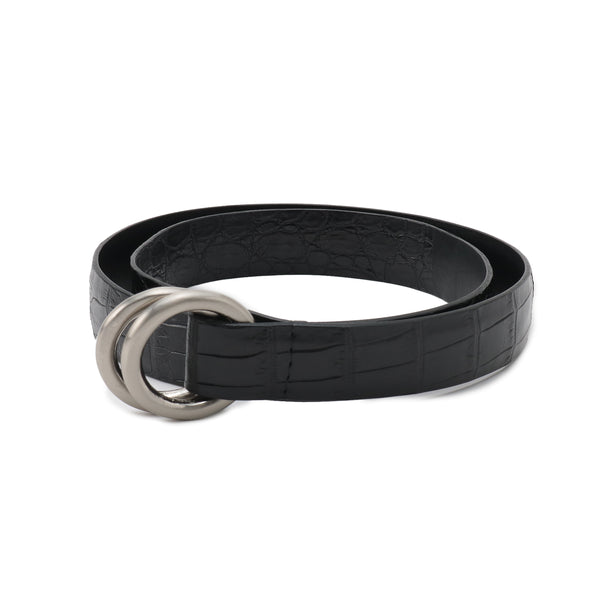 PRE ORDER<br>Crocodile Double Ring Belt SUPREME 30mm<br>Black