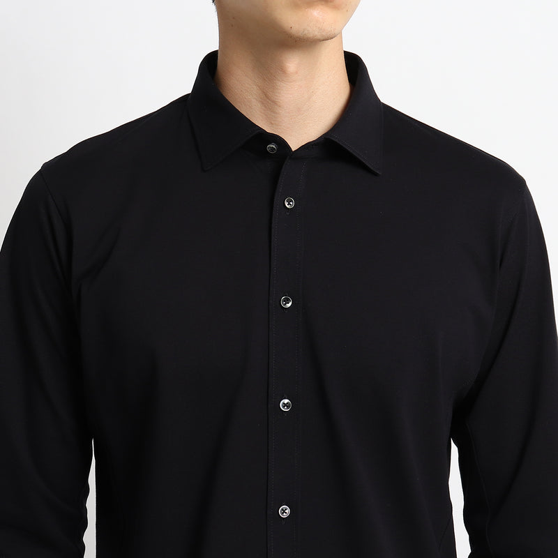 【干場義雅監修デザイン】4D_DRESS SHIRTS_ALBINI MOSS STITCH<br>Black
