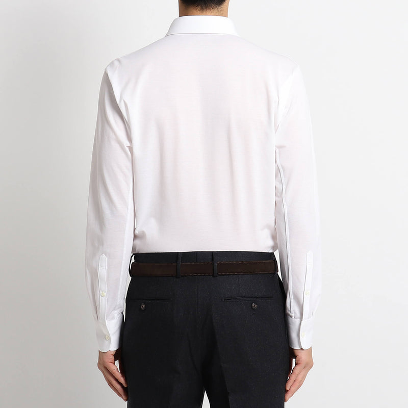 【干場義雅監修デザイン】4D_DRESS SHIRTS_ALBINI MOSS STITCH<br>White