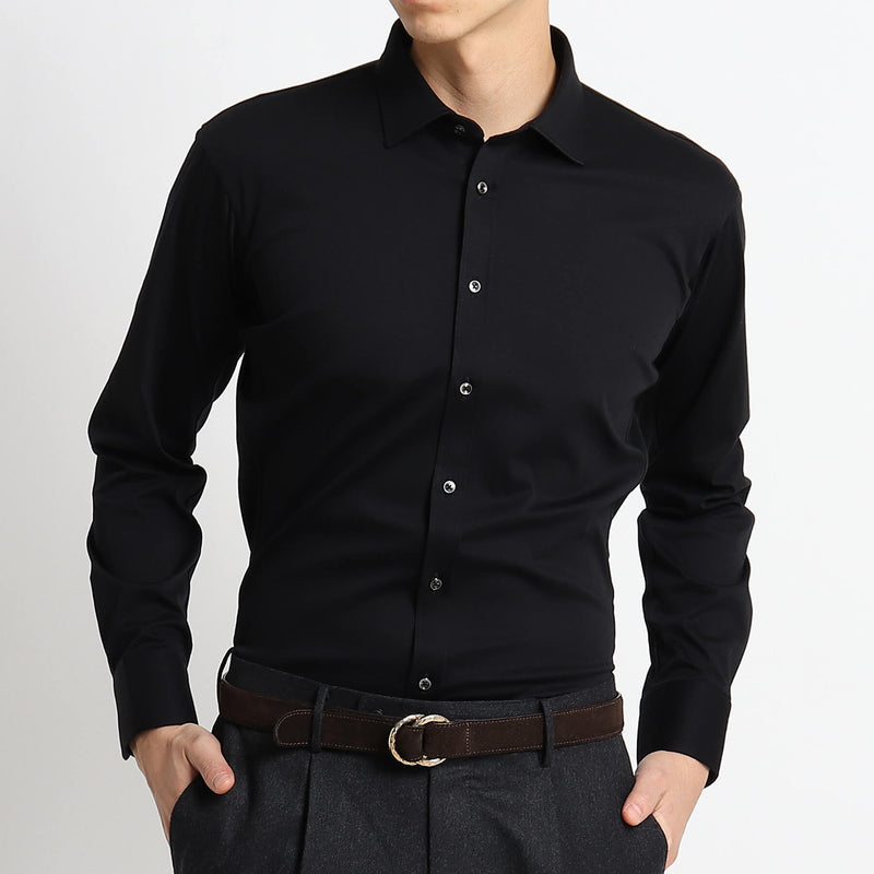 【干場義雅監修デザイン】4D Dress Shirts Albini Smooth Fabric<br>Black