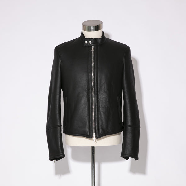 Mouton Leather<br>Single Rider's Jacket_Uomo