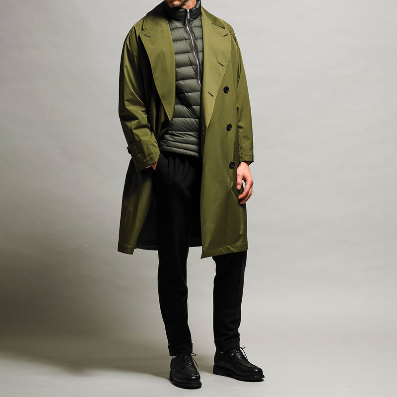 Breathable waterproof  Three-layered fablic Over trench coat Khaki
