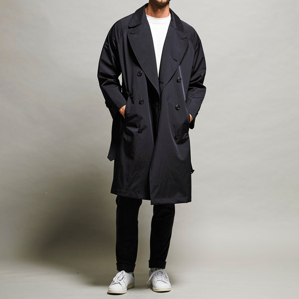 Breathable waterproof  Three-layered fablic Over trench coat Black