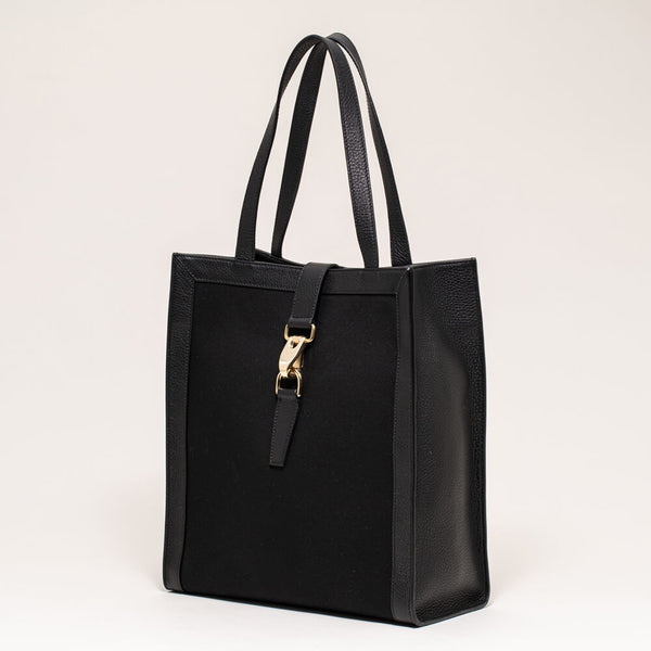 Canvas Vertical Tote Black