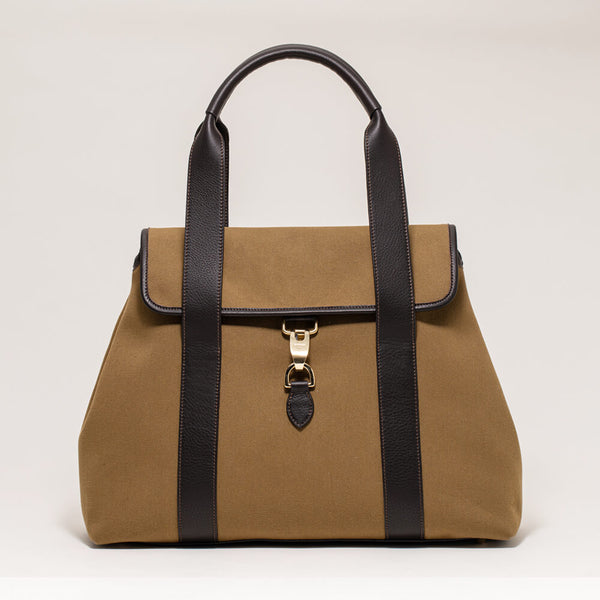 Canvas Flap Tote Khaki