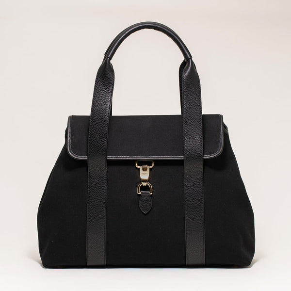 Canvas Flap Tote Black