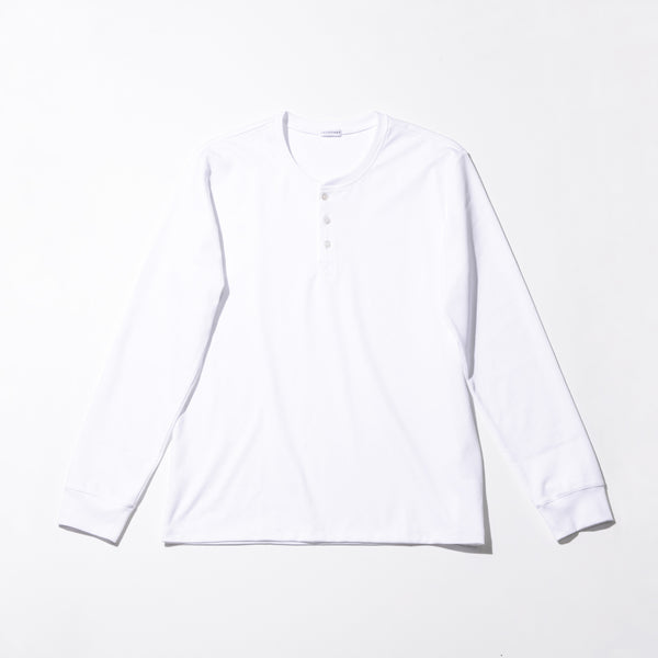 Henley neck Long Sleeve T-shirts Color:White