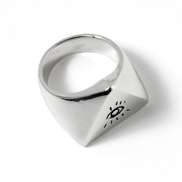 LARGE ILLUMINATI EYES RING<br>925 SILVER