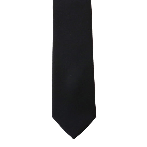 Solid Wool Black Tie<br>Loro Piana Fabric