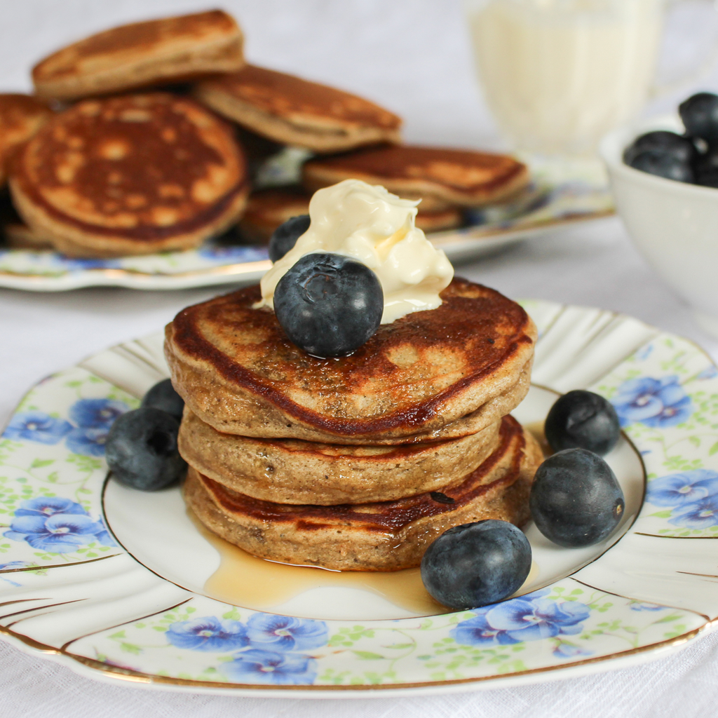 Fluffy grain-free green banana flour pancakes.