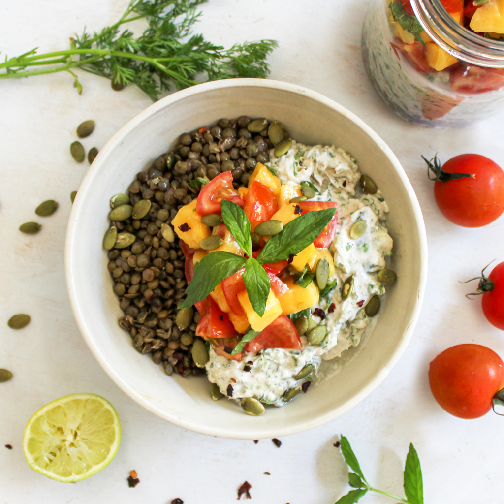 Yogurt raita lentil lunch bowl with mango salsa
