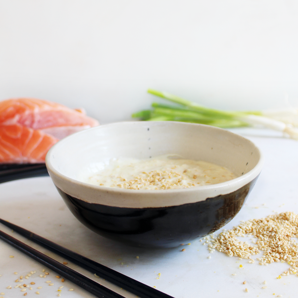 Simple wasabi & sesame yoghurt dressing