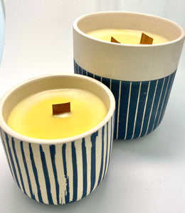 Blue Stripe Candle Collection