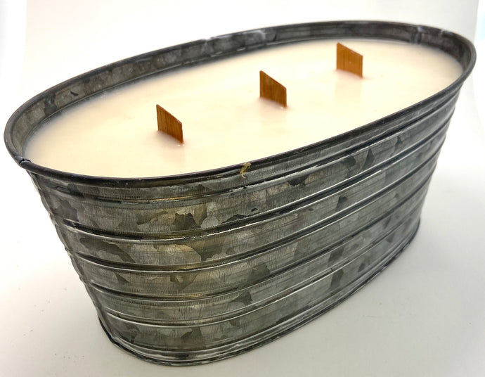 Galvanized Oval Candle