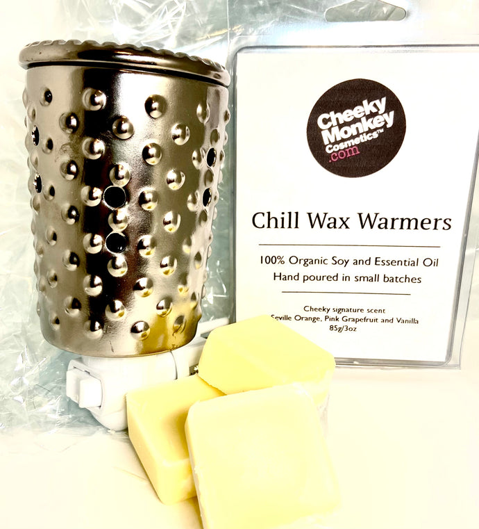 Chill Candle Wax Melts with a Silver ceramic plug in warmer