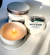 Romance candle and bath bomb combo