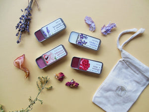 Lip Blossoms™ Collection | Four Nourishing Lip Balms Naturally Flavored with Flowers in Assorted Flavors & Tints