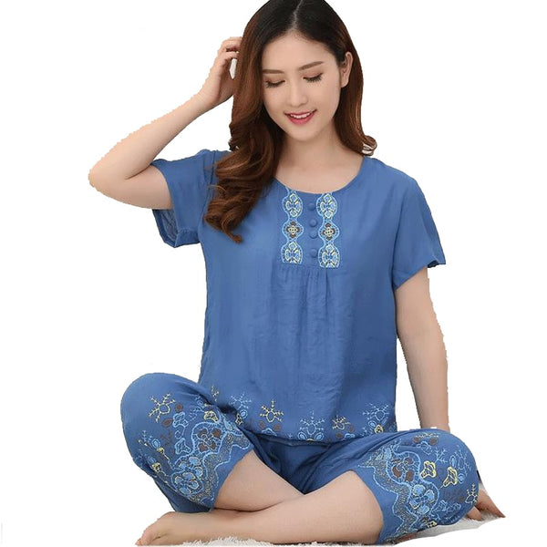 Women's Cotton Linen Print Flower Pyjamas