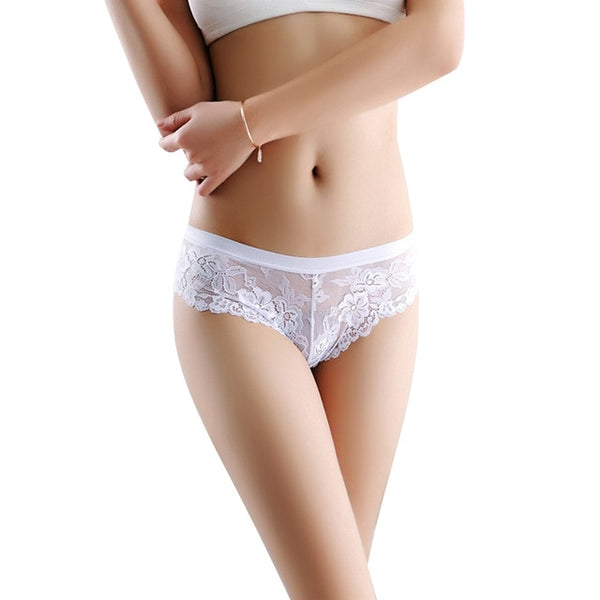 Women's Low Waist Transparent Bowtie Panties